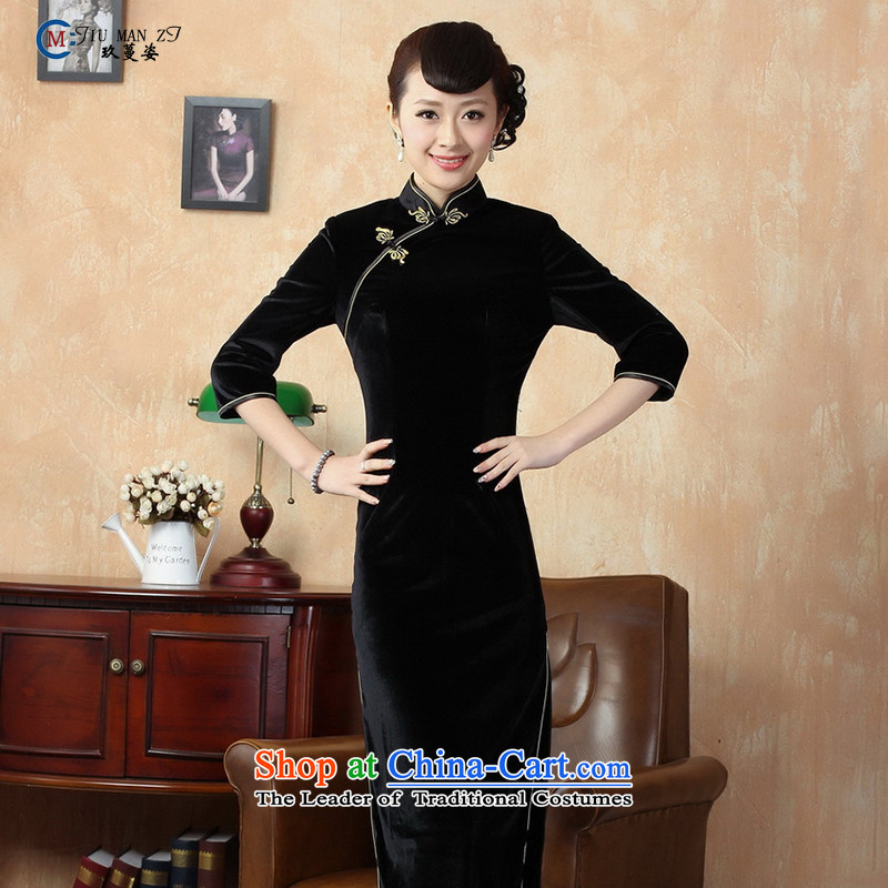 Ko Yo Gigi Lai 2015 new vines long qipao summer of the forklift truck high pure color long cheongsam dress collar Silk Cheongsam T0001 retro short-sleeved black燲XXL