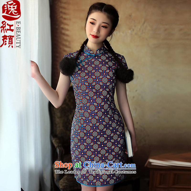 A Pinwheel Without Wind 7 Heung-Sato Yat cheongsam dress the 2014 cotton summer improved stylish Sau San cotton linen cheongsam dress retro blue?S