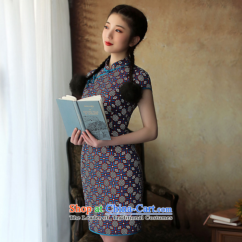 A Pinwheel Without Wind 7 Heung-Sato Yat cheongsam dress the 2014 cotton summer improved stylish Sau San cotton linen cheongsam dress retro blue聽S, Yat Lady , , , shopping on the Internet