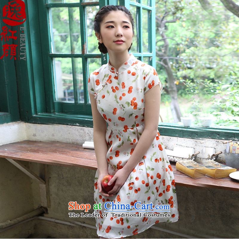 A Pinwheel Without Wind Zhu Ying Yat Silk China wind collar dresses summer new women's 2015 skirt ethnic women White M