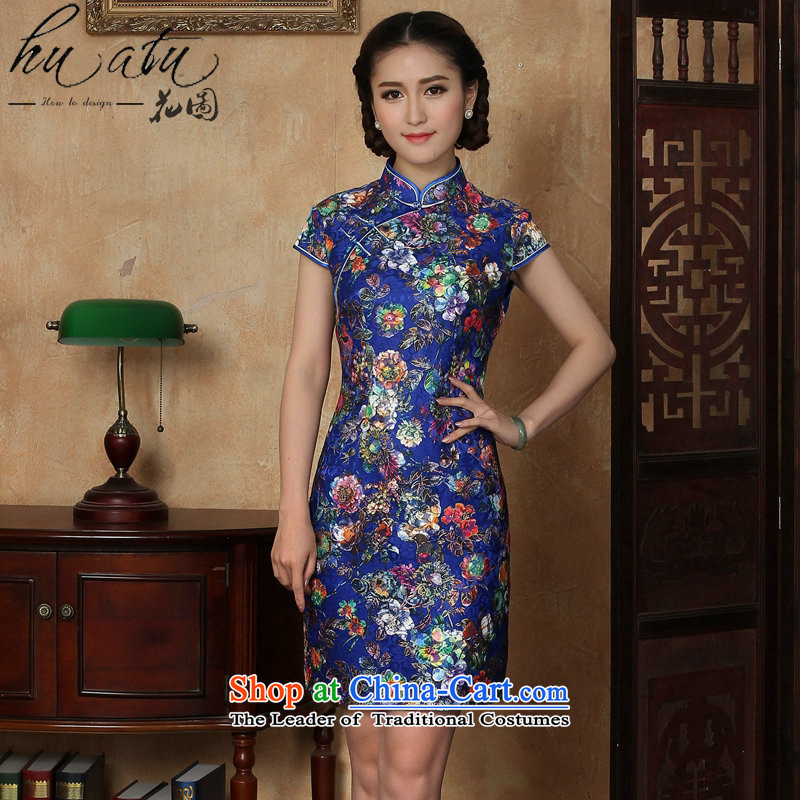 Figure for summer flowers cheongsam new women's Chinese improved lace collar suit retro-blue italics Sau San breasted qipao figure color�L