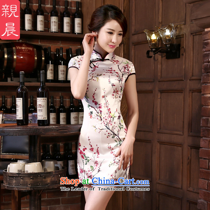 2015 autumn morning pro-summer herbs extract new upscale short of retro Sau San silk daily stylish improved qipao short, 2XL