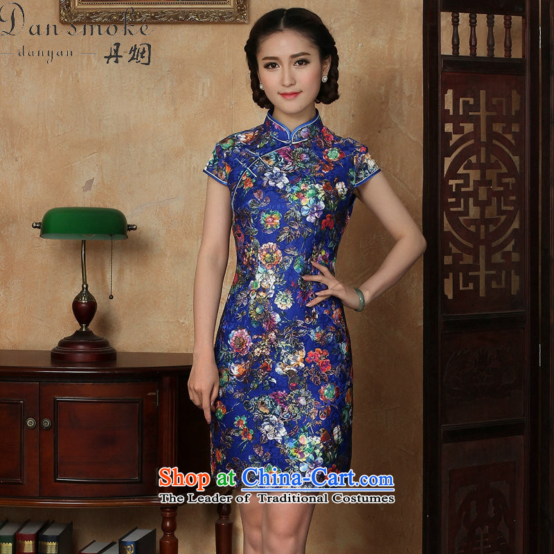 Dan smoke summer qipao new women's Chinese improved lace collar suit retro-blue italics Sau San breasted qipao Figure Color聽XL