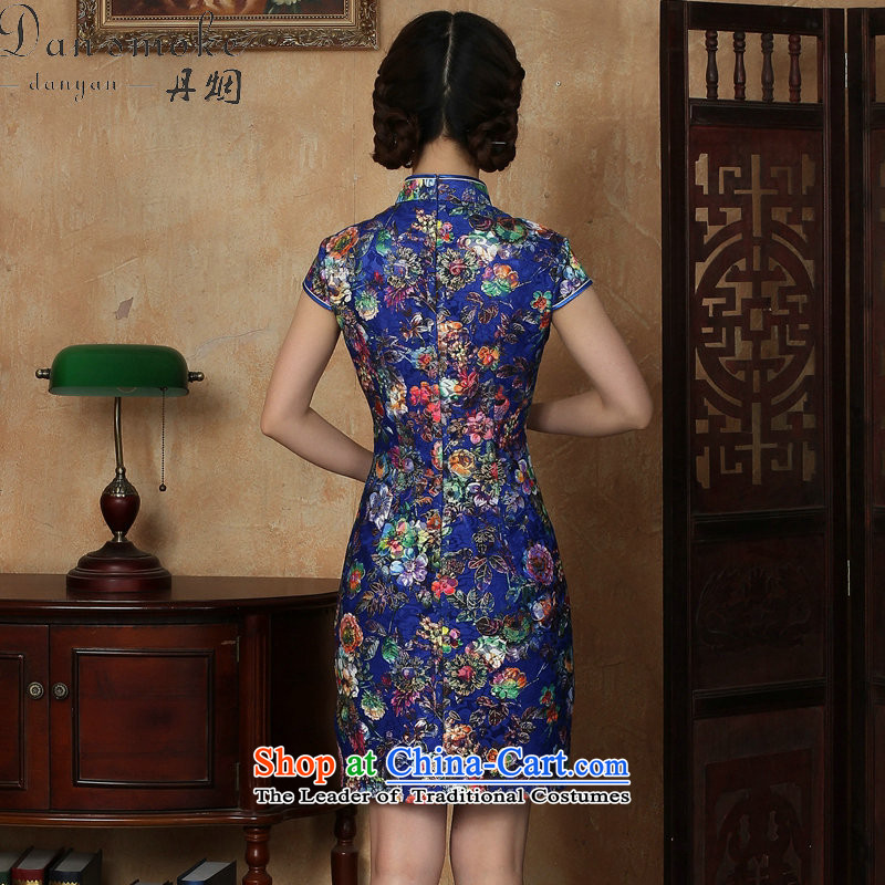 Dan smoke summer qipao new women's Chinese improved lace collar suit retro-blue italics Sau San breasted qipao Figure Color聽XL, Dan Smoke , , , shopping on the Internet
