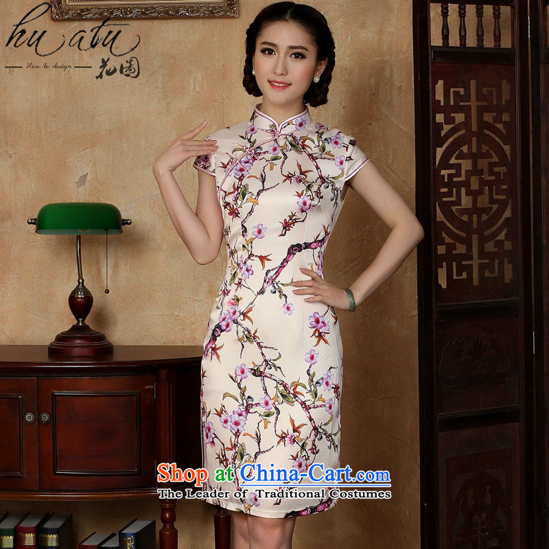 Figure for summer flowers new women's dresses Chinese daily improved emulation silk collar need breasted qipao Figure�2XL color