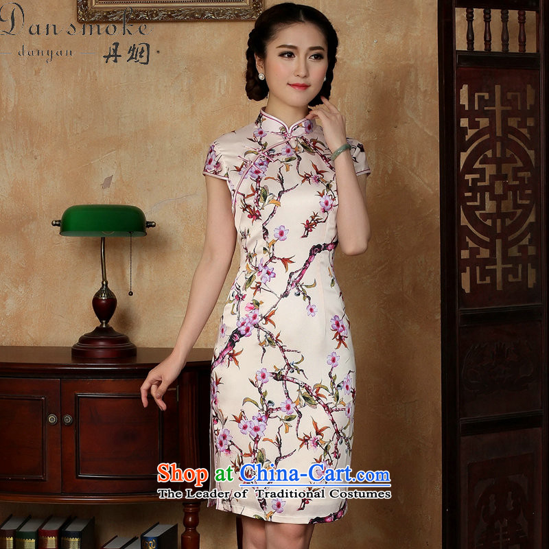 Dan smoke summer new women's dresses Chinese daily improved emulation silk collar need breasted qipao Figure�L color