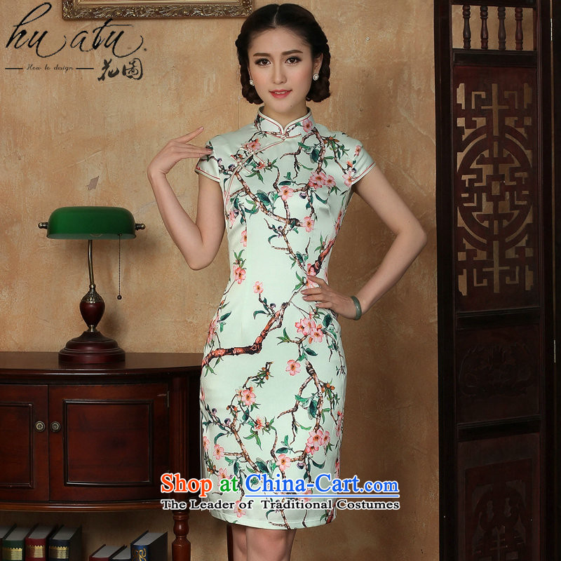 Floral qipao gown summer retro new female emulation silk Chinese improved emulation population of collar short qipao Figure Color燬