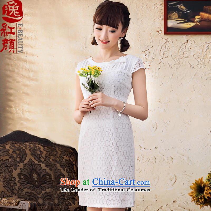 A Pinwheel Without Wind Yat Mai-mai spring and summer new lace skirt Fashion Sau San short-sleeved female skirt breathability and elegant white�L