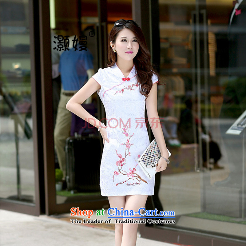 Xiaoman Summer 2015+ NEW cheongsam summer Korean bows to Sau San Tong large thin graphics load skirt the teahouse workwear ethnic cheongsam dress fw1 on white Phillips-head燬