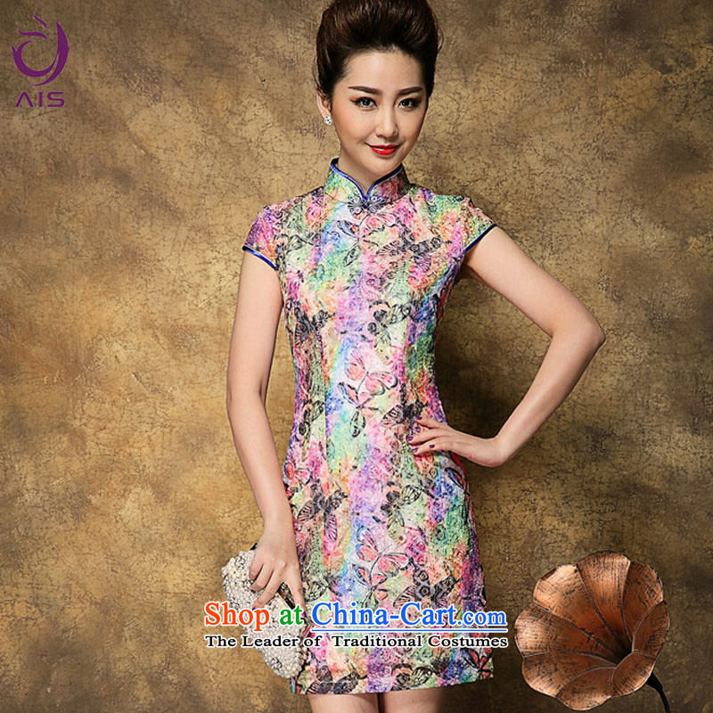 Progress toward a new summer 2015 Ritz_ Older mother load Tang Dynasty Chinese cheongsam palace national culture of quality multi-colored qipao XL