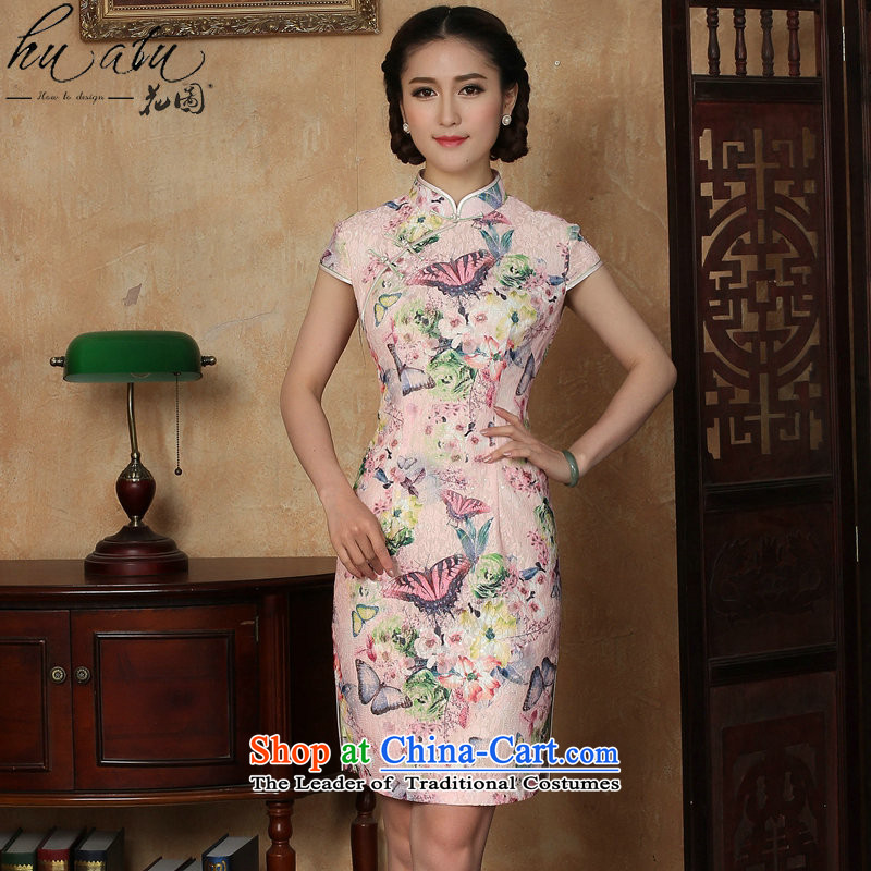 Figure for summer flowers new cheongsam dress Tang Dynasty Chinese lace improved daily collar short cheongsam dress as butterfly map color燬