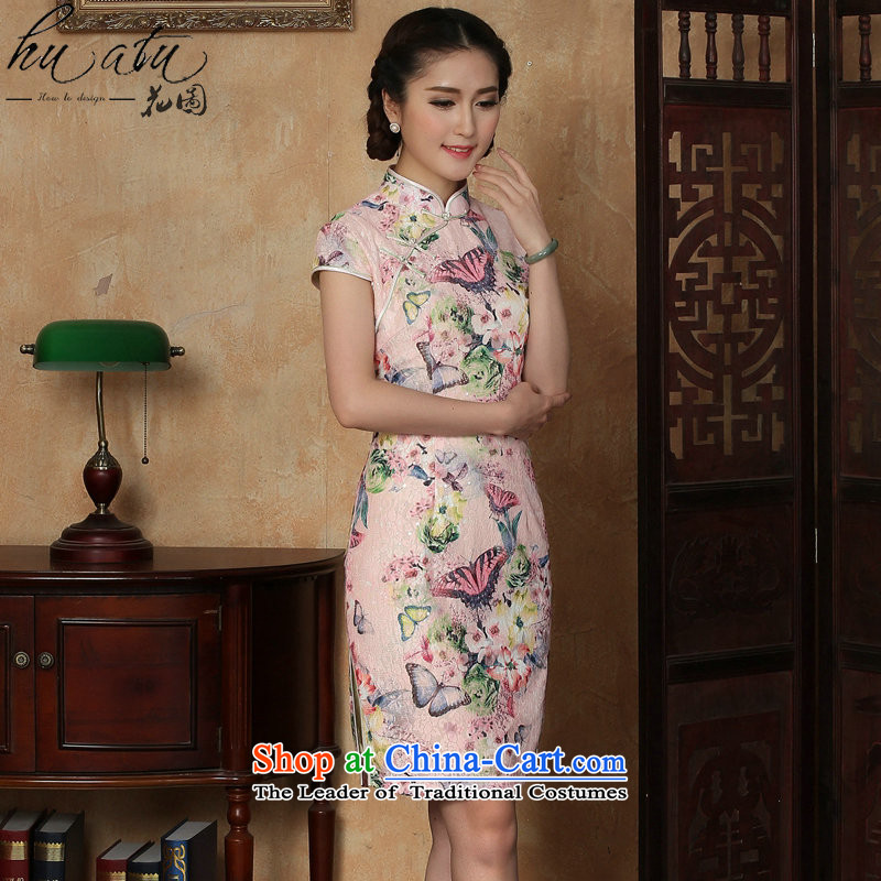 Figure for summer flowers new cheongsam dress Tang Dynasty Chinese lace improved daily collar short cheongsam dress as butterfly map color聽S, floral shopping on the Internet has been pressed.