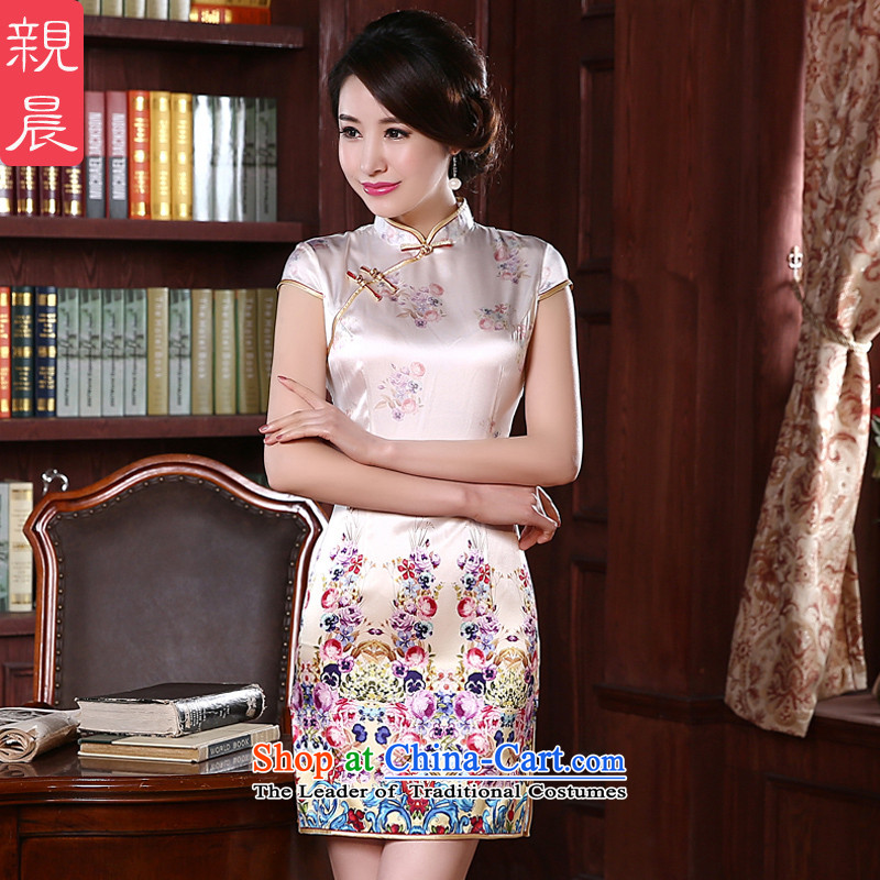 The pro-am daily new 2015 Summer herbs extract stylish improved short of silk upscale retro female qipao short of Sau San 2XL