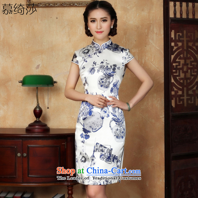 The cross-sa, Gillian Yao new heavyweight Silk Cheongsam summer couture cheongsam dress herbs extract short-sleeved燳 S5118 XL