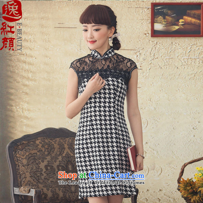A Pinwheel Without Wind dance ink Yat lace cheongsam dress retro elegant qipao skirt spring and summer new improved stylish black Sau San燣
