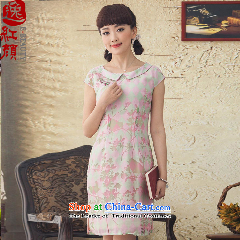 A Pinwheel Without Wind Flower-language Yat new cheongsam dress elegant 2015 spring_summer load cheongsam dress improved stylish Sau San pink聽L