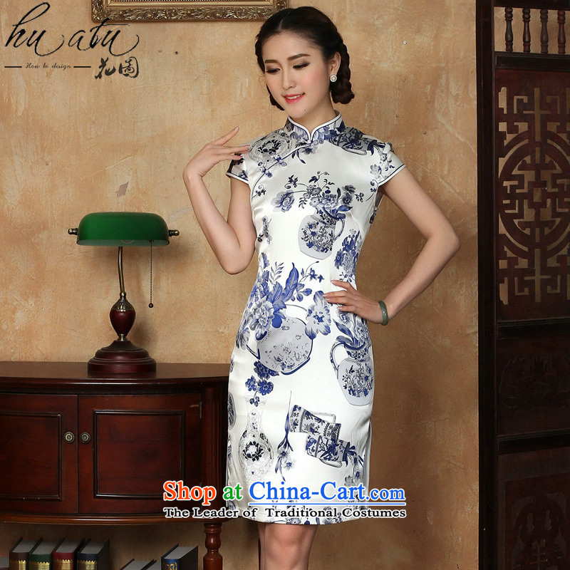 Figure for summer flowers new women's dresses silk Chinese improved collar porcelain herbs extract comfortable qipao gown as shown short-燲L
