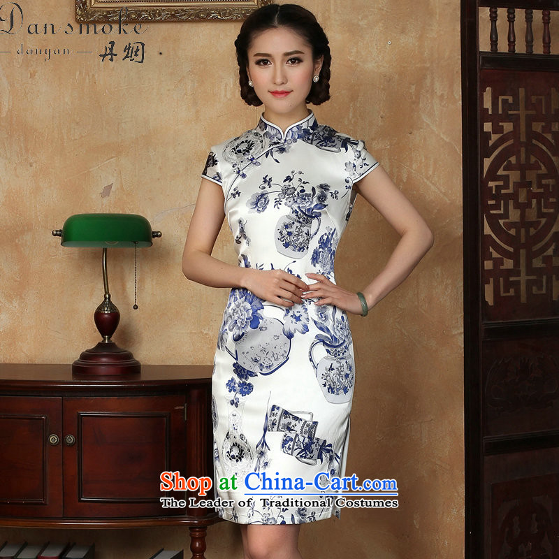 Dan smoke summer new women's dresses silk Chinese improved collar porcelain herbs extract comfortable qipao gown as shown short聽3XL color