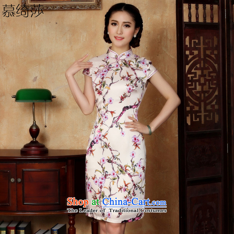 The cross-Sa Valley of�15 New improved qipao summer Stylish retro daily Short-Sleeve Mock-Neck cheongsam dress double燳5123燺5123_ red S