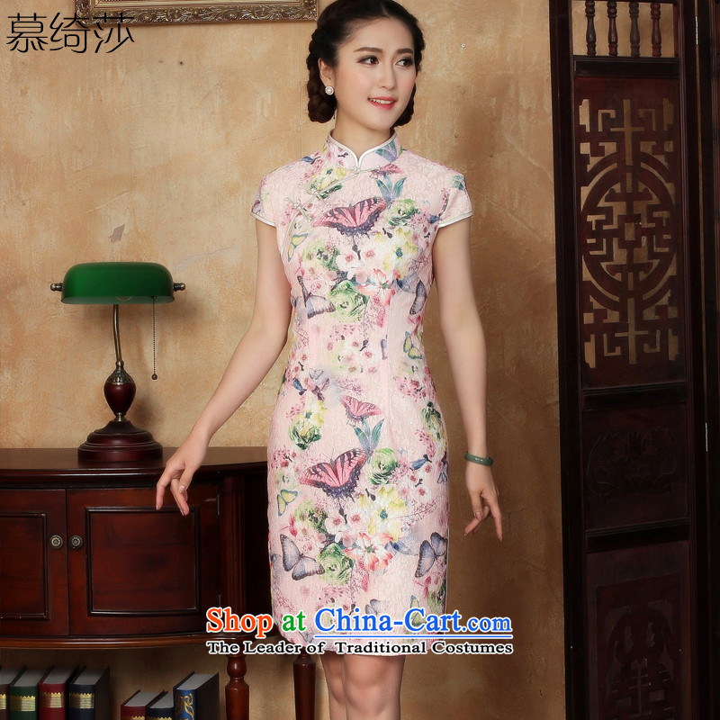 The cross-sa stroking Lei�2015 new women's national wind cheongsam dress improved daily lace qipao cheongsam dress�Y5127 2XL