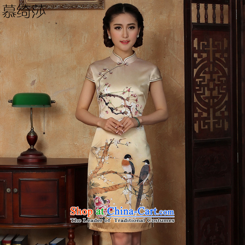 The cross-SA Q Fuser 2015 new women's national wind cheongsam dress heavyweight silk cheongsam dress female herbs extract S5128 Y M