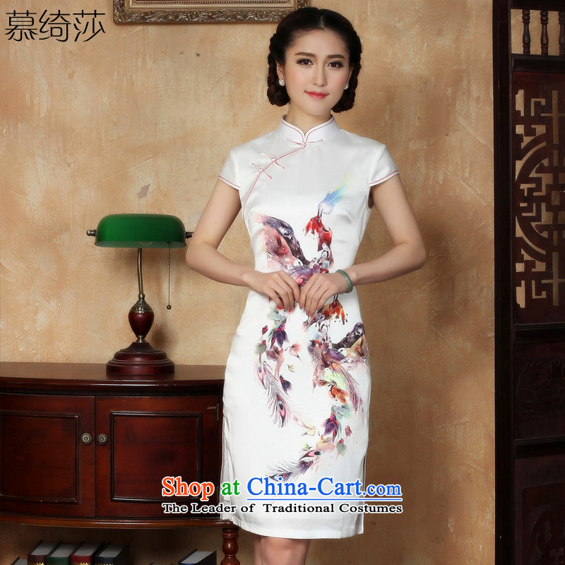 The cross-SA-Daily in new forms of improvement in the spring and summer of qipao long cheongsam dress female silk cheongsam dress燳5129 XL