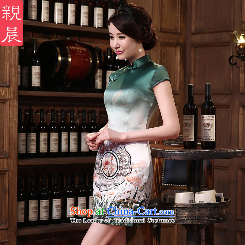 At 2015 new pro-autumn day-to-day summer herbs extract upscale fashion improved short of Sau San Silk Cheongsam short of retro XL