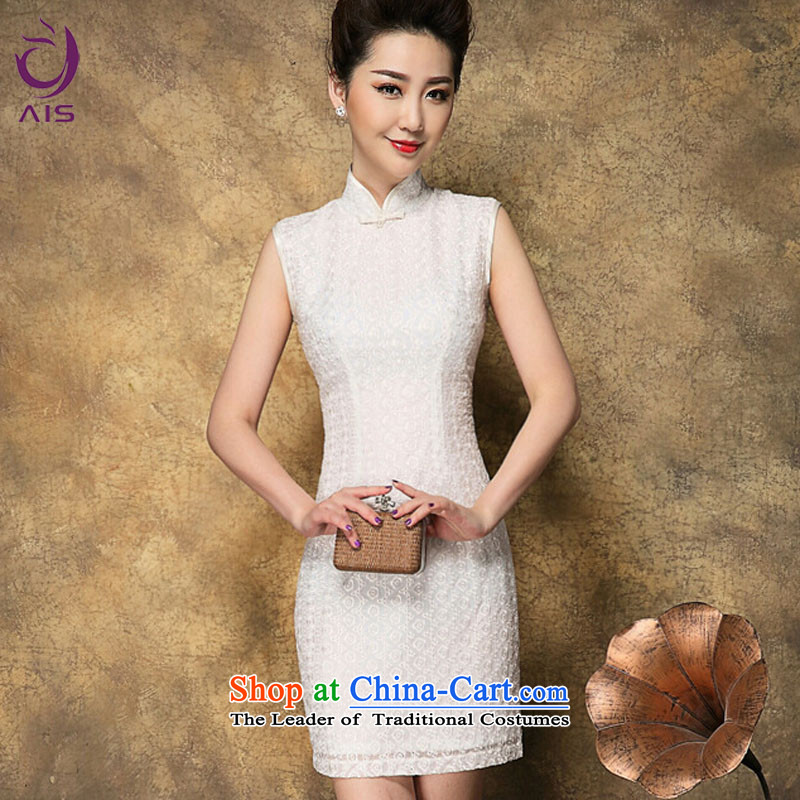 Progress toward a爊ew summer 2015 Ritz of Chinese cheongsam dress snowflake embroidered sleeveless white temperament short of daily qipao white燣