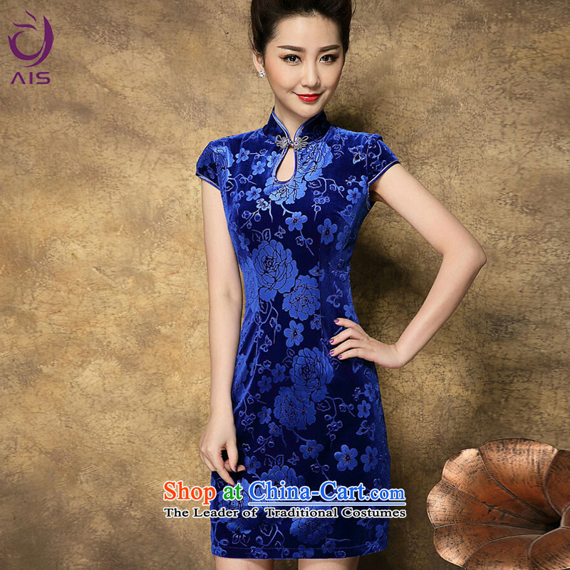 Progress toward Alice燬ummer 2015 new products in older mother load cheongsam dress Chinese old on the beach retro-stamp solid color qipao skirt blue燲XL