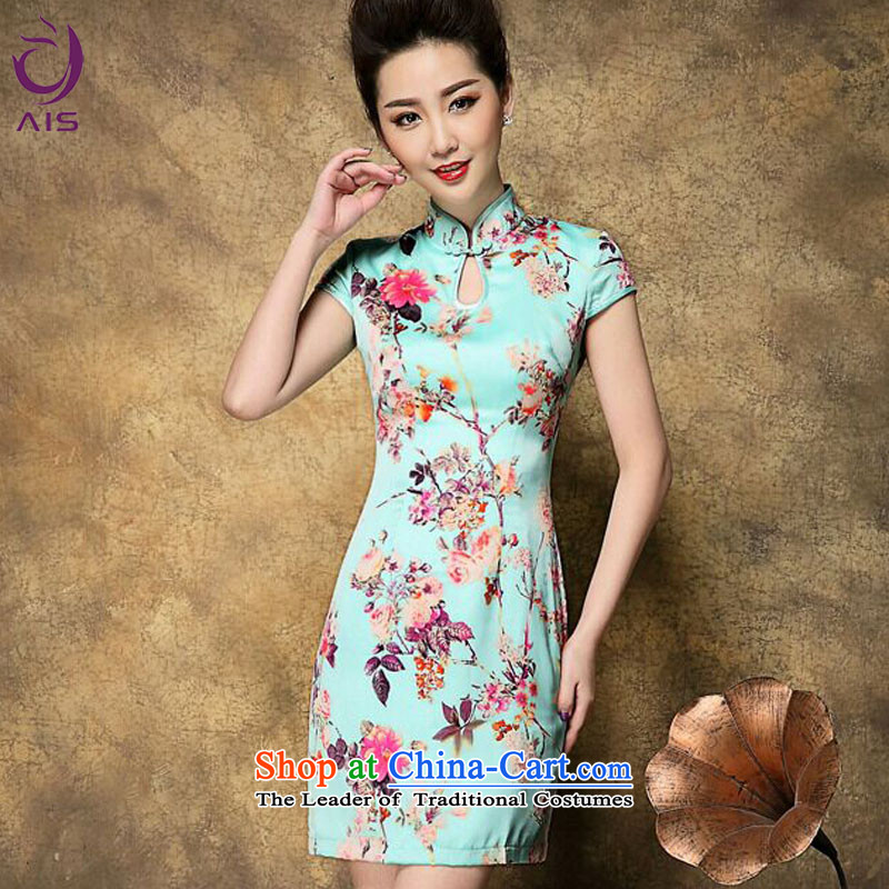 Progress toward Alice�15 Summer new cheongsam dress in older MOM pack upscale temperament cheongsam dress stamp light blue燤