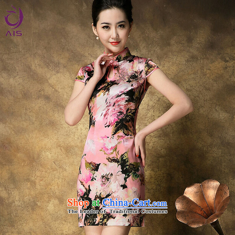 Progress爄n the summer of 2015, Ritz new upscale look older mother load qipao stamp Sau San short-sleeved Silk Cheongsam pink燲XL