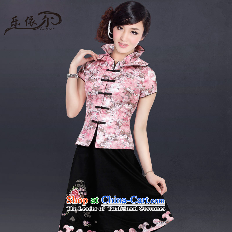 In accordance with the stylish, improvement of packaged summer large retro-day Chinese female Tang dynasty LYE2817 pink short-sleeved T-shirt + pants燲XL