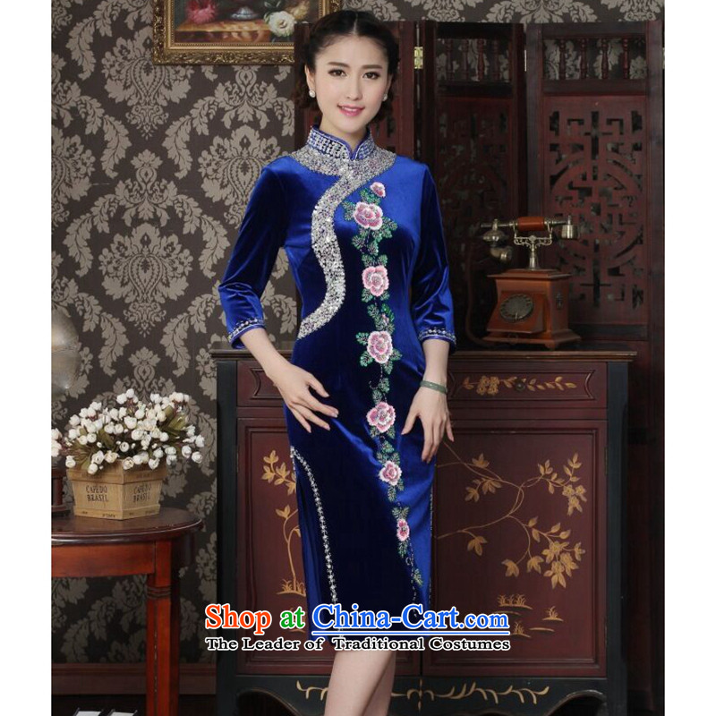 Dan smoke cheongsam dress Chinese improved Mock-neck scouring pads set manually pearl noble qipao embroidered banquet cuff cheongsam Blue燤