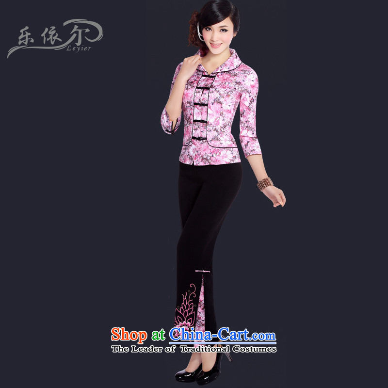 In accordance with the stylish, improvement of Small Tang Dynasty 7 short-sleeved daily retro Tang dynasty female LYE021 pink kit?XL