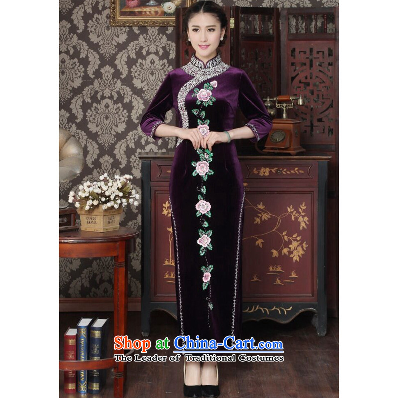 Floral female qipao Tang dynasty scouring pads set noble qipao pearl manually Chinese embroidery banquet Qipao Length improved qipao 3XL Purple