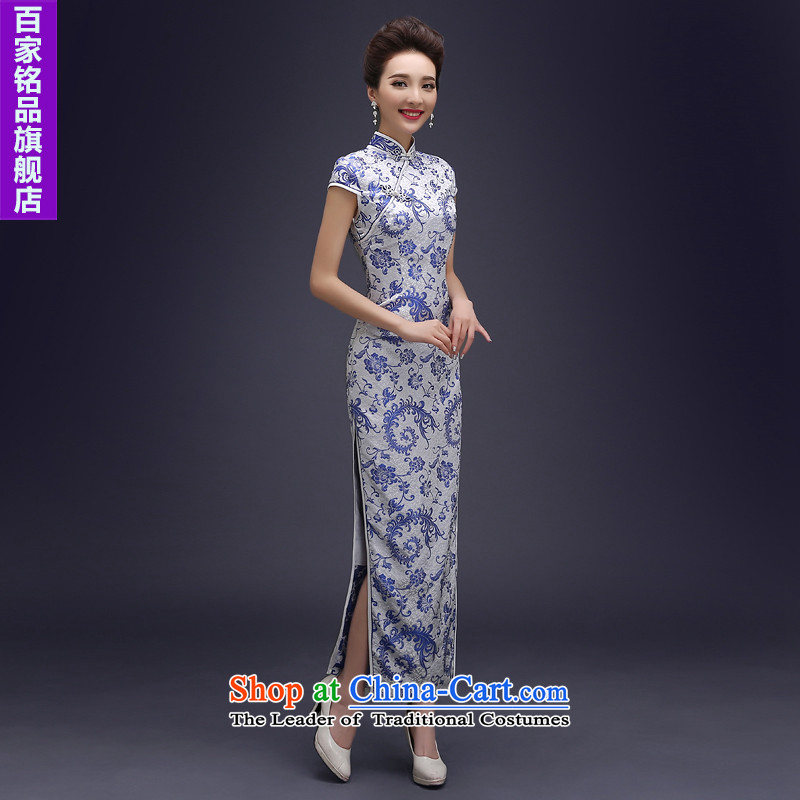 Porcelain cheongsam dress autumn 2015 new improved day-to-day long, stylish cheongsam dress of the forklift truck Sau San porcelain imported dress of the forklift truck聽S
