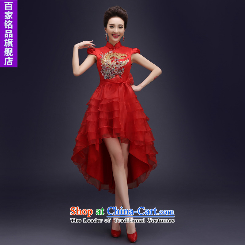 Wedding dress uniform evening drink cheongsam dress燼utumn 2015 new bride qipao Chinese marriage services improved retro qipao bows short, Red Red燣