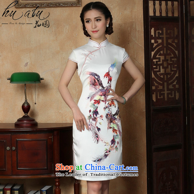 Figure for summer flowers new cheongsam dress Phoenix emulation silk Chinese improved collar short cheongsam dress elegant daily figure color?L