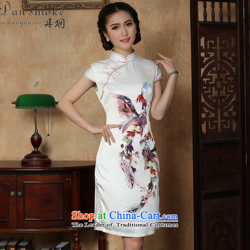 Dan smoke summer new cheongsam dress Phoenix emulation silk Chinese improved collar short cheongsam dress elegant daily figure color燲L