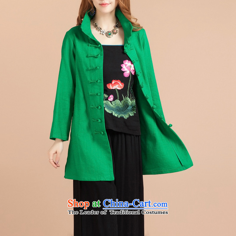 Brown BROWNGE) jeep (new stylish ethnic blouses literary and artistic and elegant Chinese Classical China wind up the clip mock green�XL