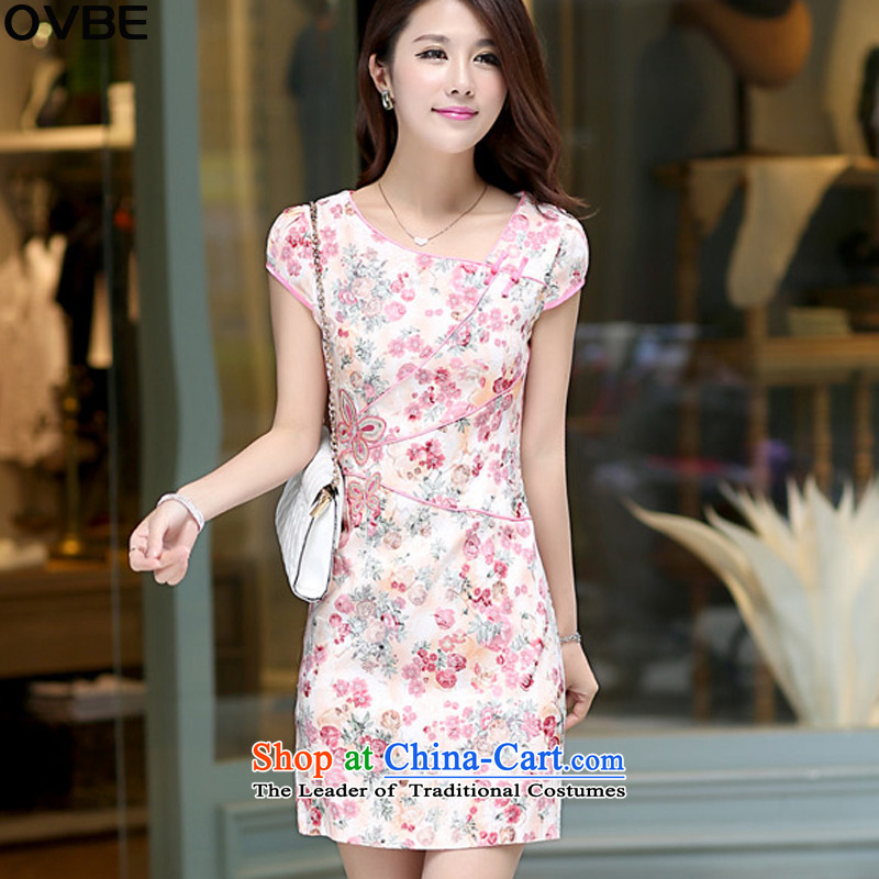 �The Korean version of 2015 OVBE summer new short-sleeved round-neck collar stamp temperament and package cheongsam dress female pink�M