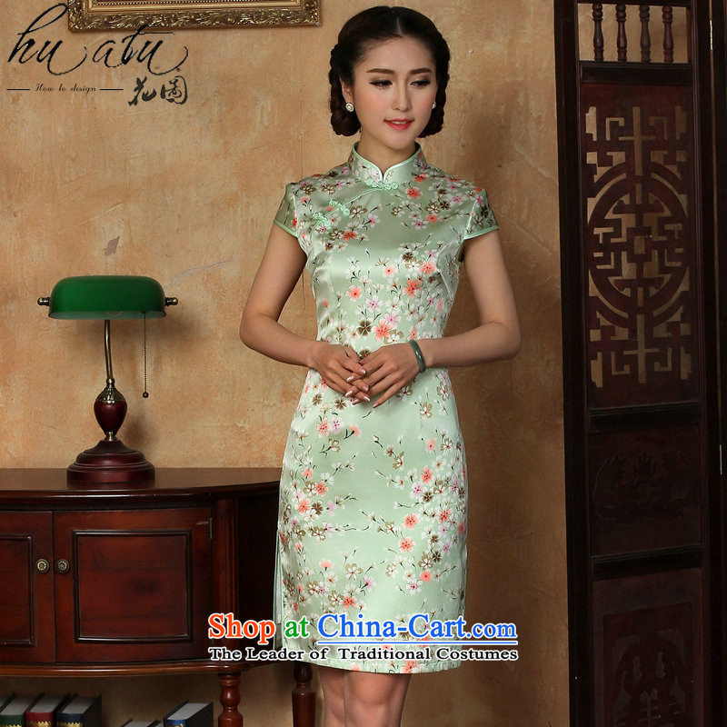 Figure for summer flowers cheongsam dress new Chinese improved light collar silk Phillips-head herbs extract qipao gown as shown short-燤