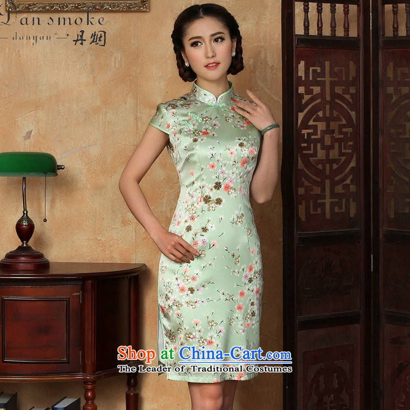 Dan smoke summer cheongsam dress new Chinese improved light collar silk Phillips-head herbs extract qipao gown as shown short-color L