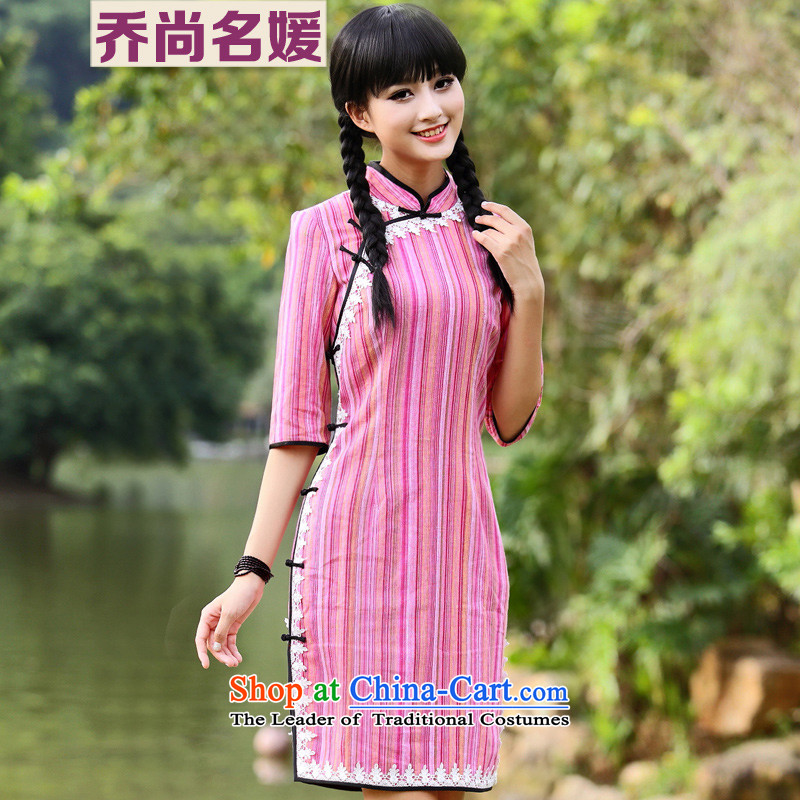 Joe was aristocratic cotton linen dresses Chinese 7 Cuff Tang dynasty MQP820 streaks red?L