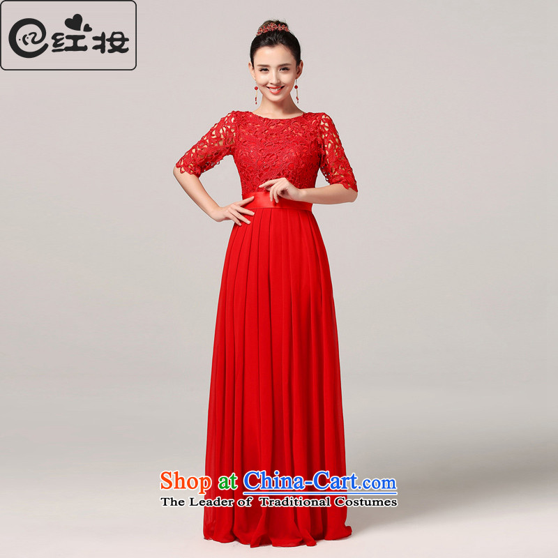 Recalling that hates makeup and seven marriages cuff warm spring long Stylish retro bows services red qipao Korean Q15031 RED燬