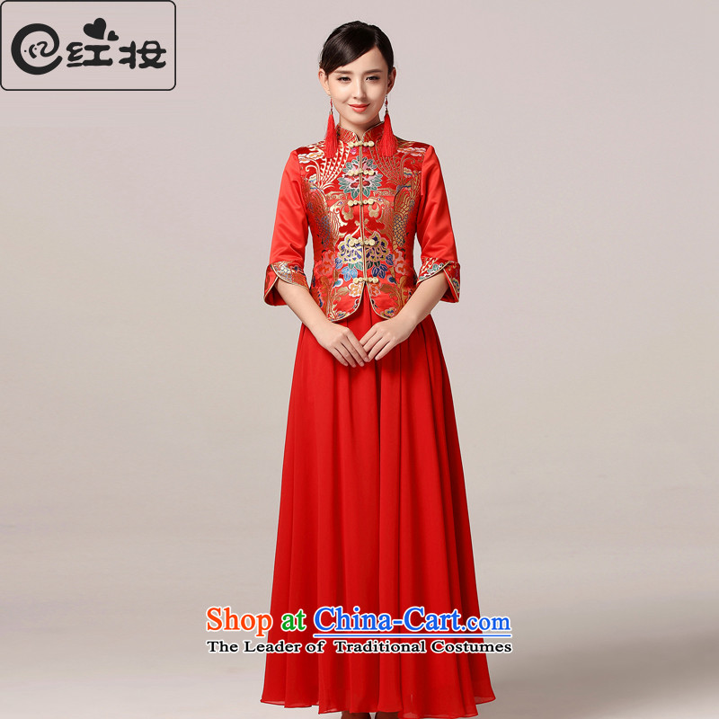 Recalling that hates makeup and the spring and summer marriages red long two kits qipao gown Sau Wo retro services services Q15018 bows red燬