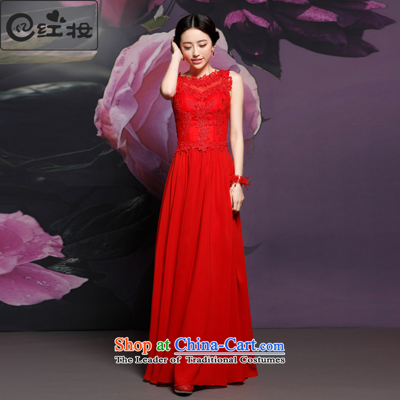 Recalling that the new Marriage hates makeup and red long drink service bridal dresses Chinese Antique Lace improved Q14729 evening dress RED M