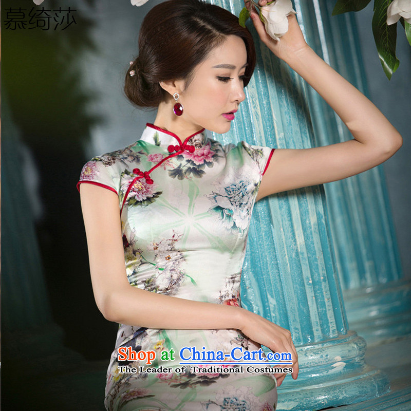 The cross-sa Baihua Zhengyan, 2015 new ethnic women retro style heavyweight Silk Cheongsam improved SZ2S2217 daily M