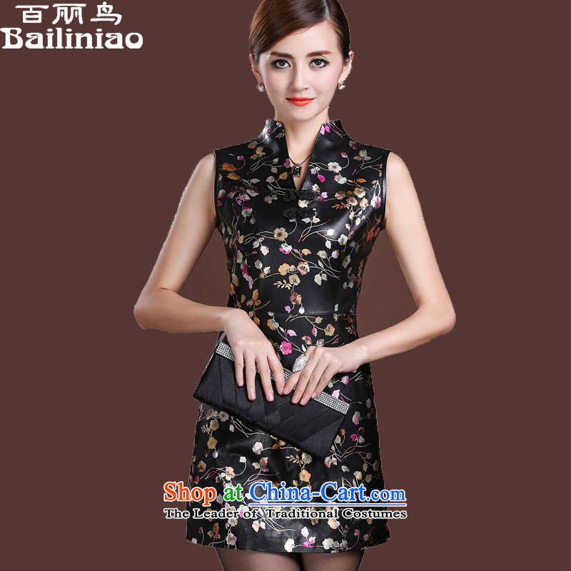 Her birds spring 2015 new head layer fur noble dinner dress sleeveless bows services improved qipao Haining leather retro female skirt daily Suit M