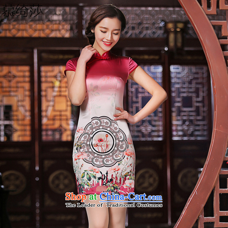 The new facilities as Windsor heavyweight Silk Cheongsam summer retro stamp stylish cheongsam dress female燬Z S2228燫ED燤